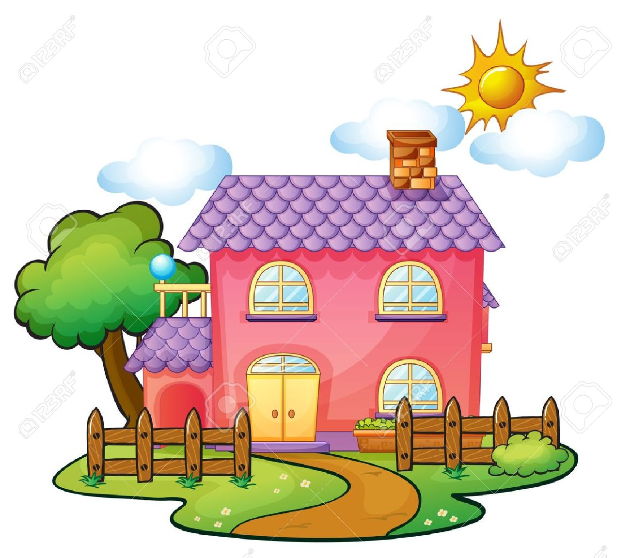 illustration of a house in a beautiful nature Stock Vector - 16283377