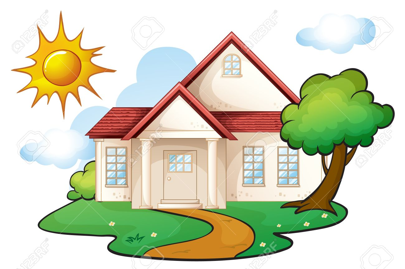 illustration of a house in a beautiful nature Stock Vector - 16319641