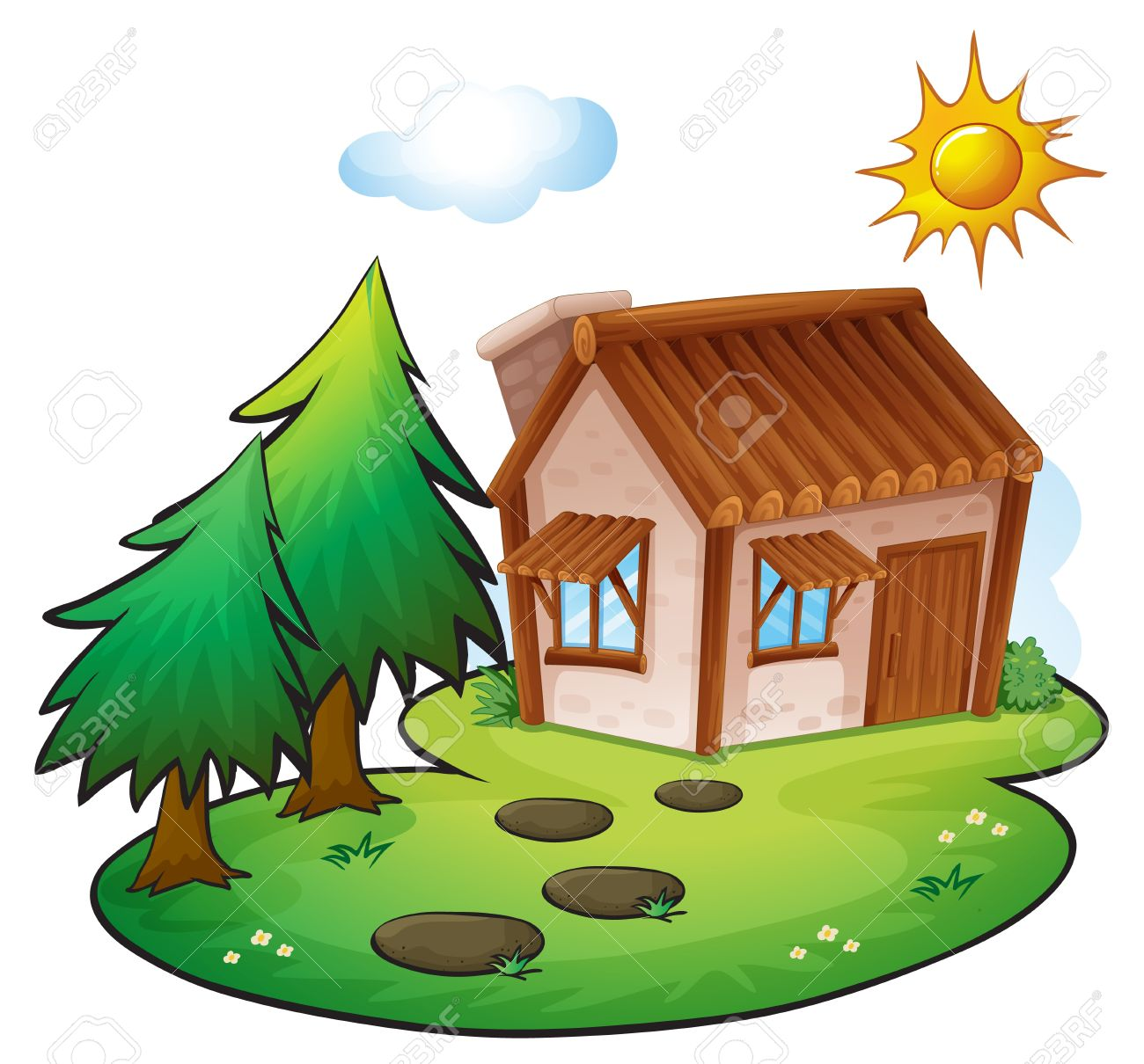illustration of a house in a beautiful nature Stock Vector - 16319700