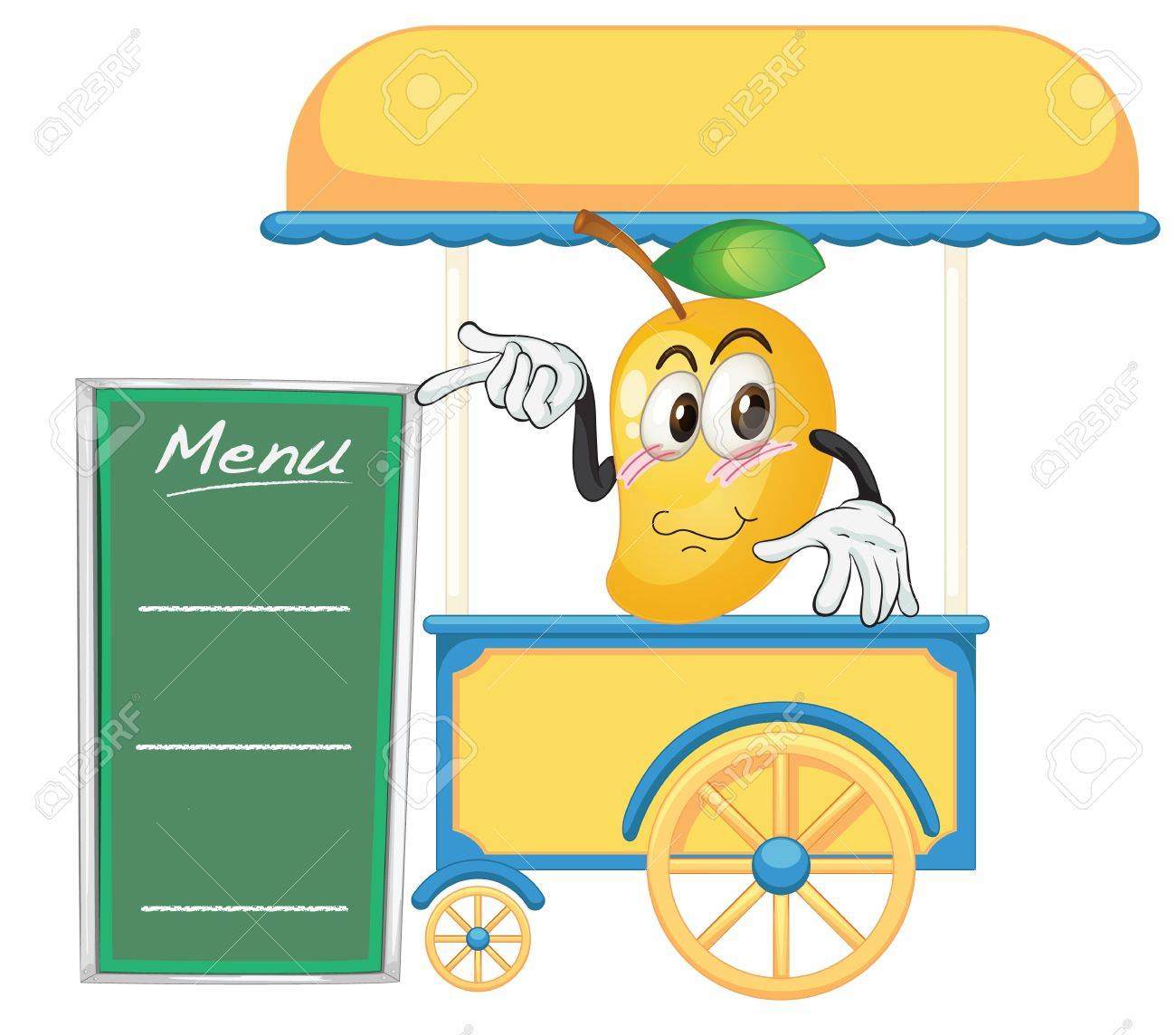 illustration of a cart stall and a mango on a white background Stock Vector - 16319849