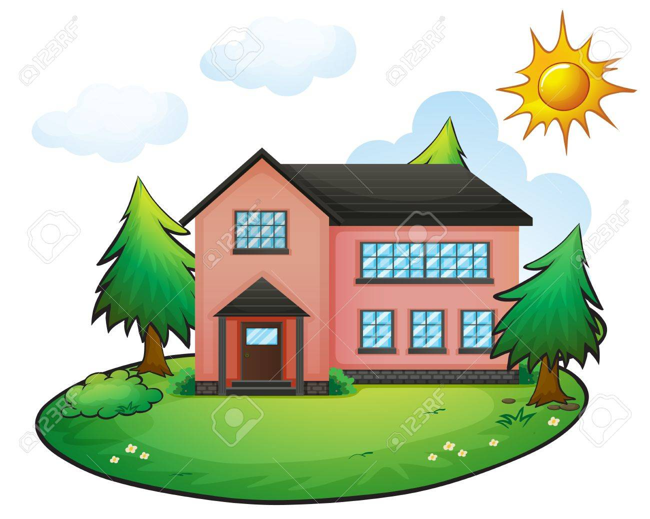 illustration of a house in a beautiful nature Stock Vector - 16319507