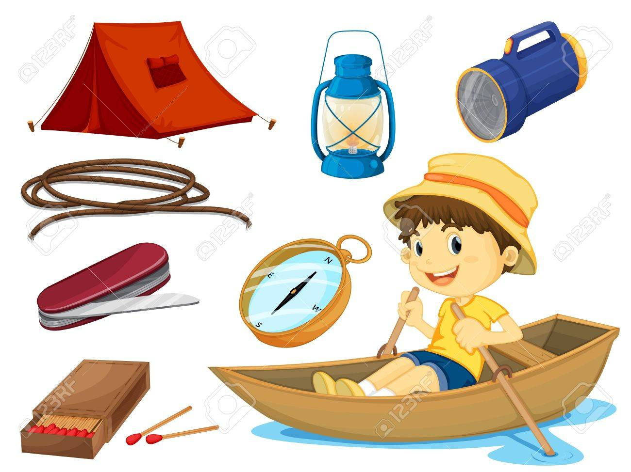 illustration of a boy and various objects of camping on a white background Stock Vector - 16379250