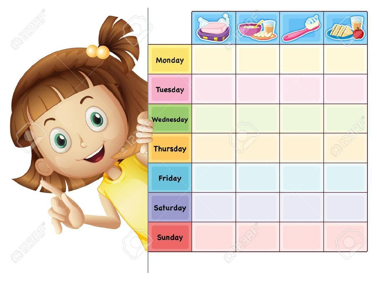 illustration of a girl and a calender on a white background Stock Vector - 16379243