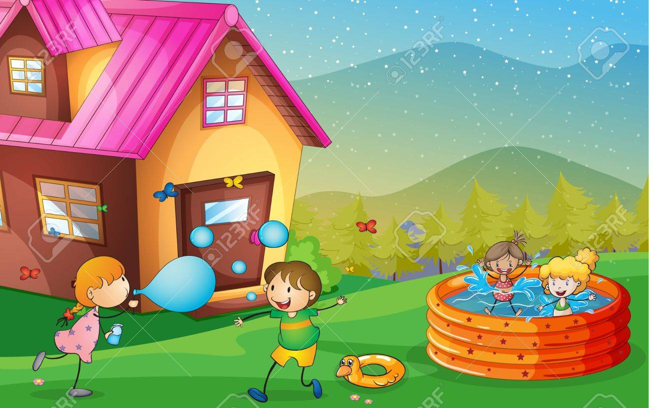 illustration of a house and kids in a beautiful nature Stock Vector - 16395098