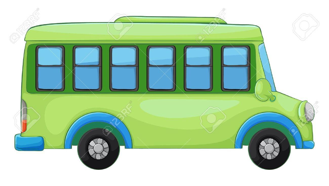 白い背景の上バスのイラスト ロイヤリティフリークリップアート