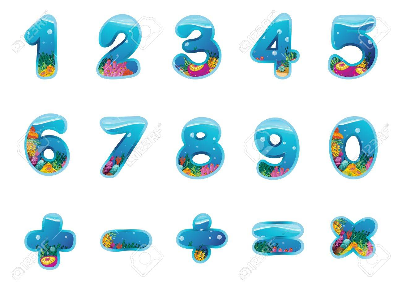 illustration of numbers and signs on a white background - 16520885