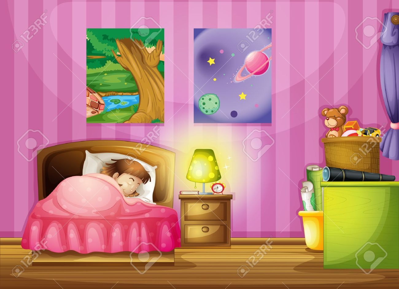 Vector   illustration of a girl and a beautiful bedroom. Illustration Of A Girl And A Beautiful Bedroom Royalty Free