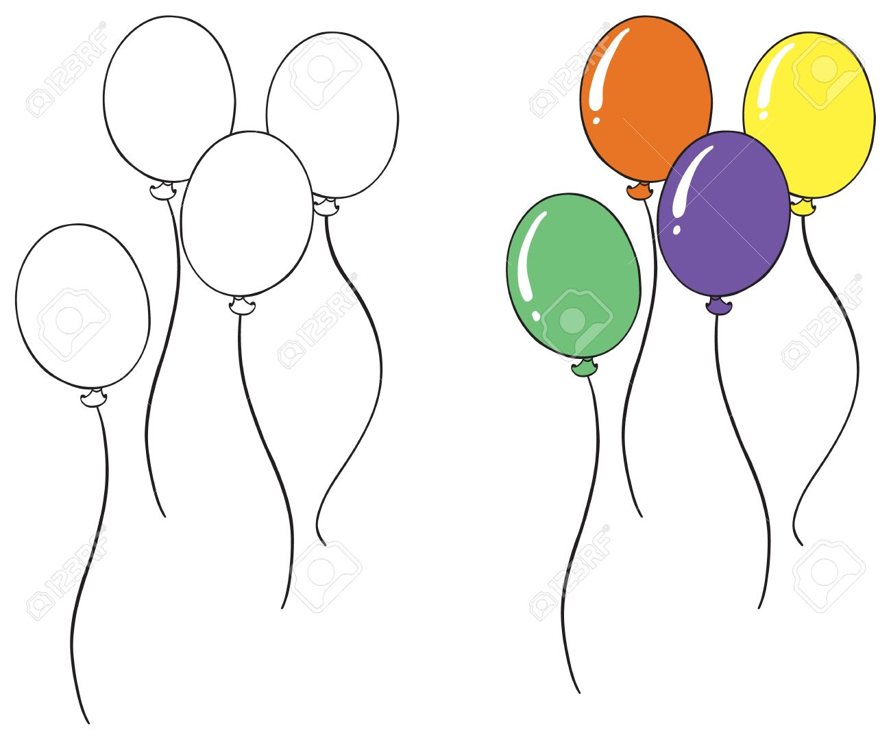 Illustration Of A Balloon Sketch On A White Background Royalty
