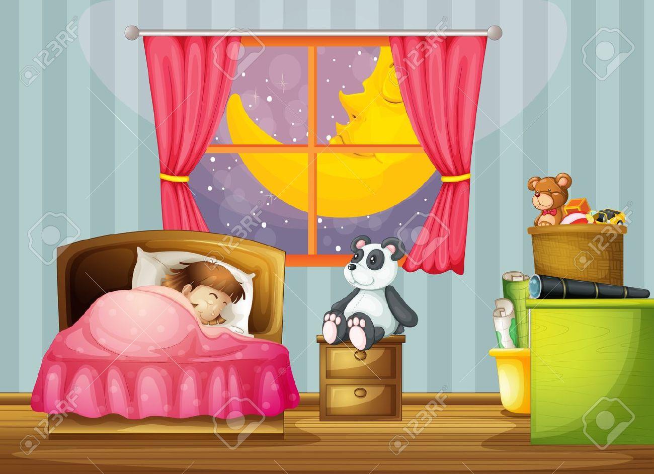 Illustration D\'une Fille Dans Une Belle Chambre à Coucher Clip Art ...