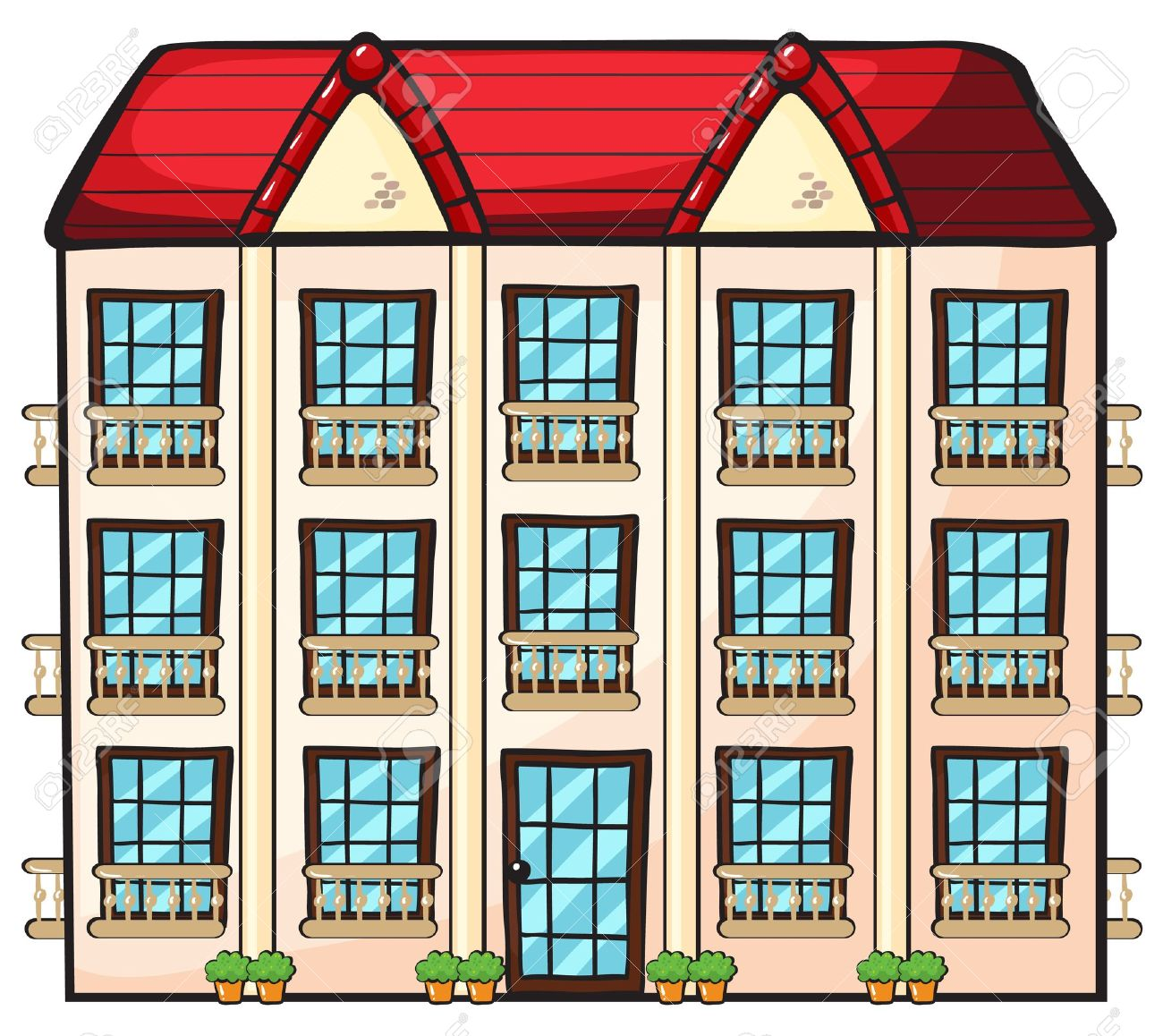 Apartment Illustration Of A Brick Apartment Building Illustration