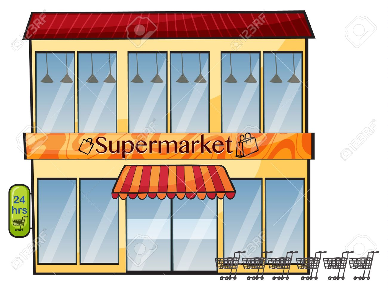 illustration of a supermarket on a white background - 16733901