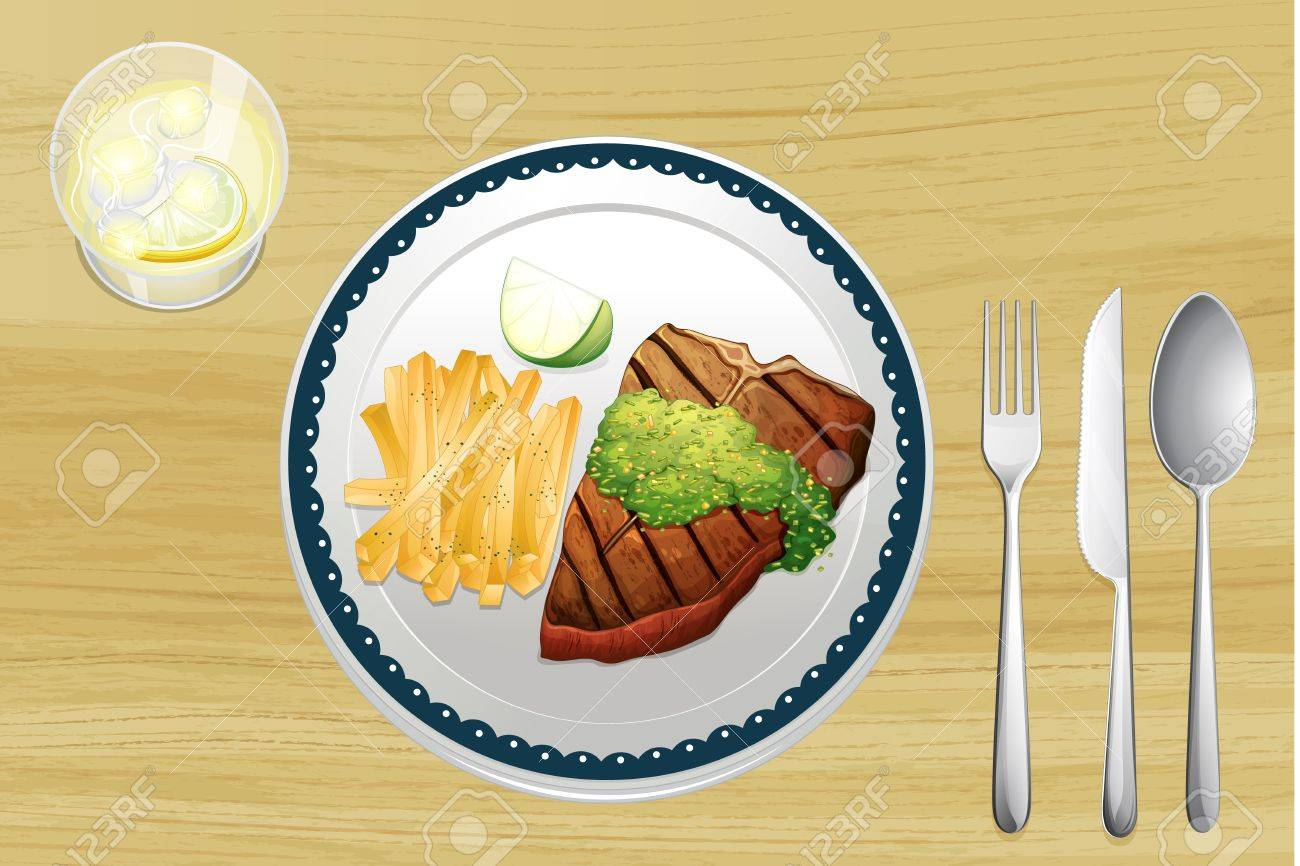 Illustration of a steak and french fries on a wooden table Stock Vector - 16930015
