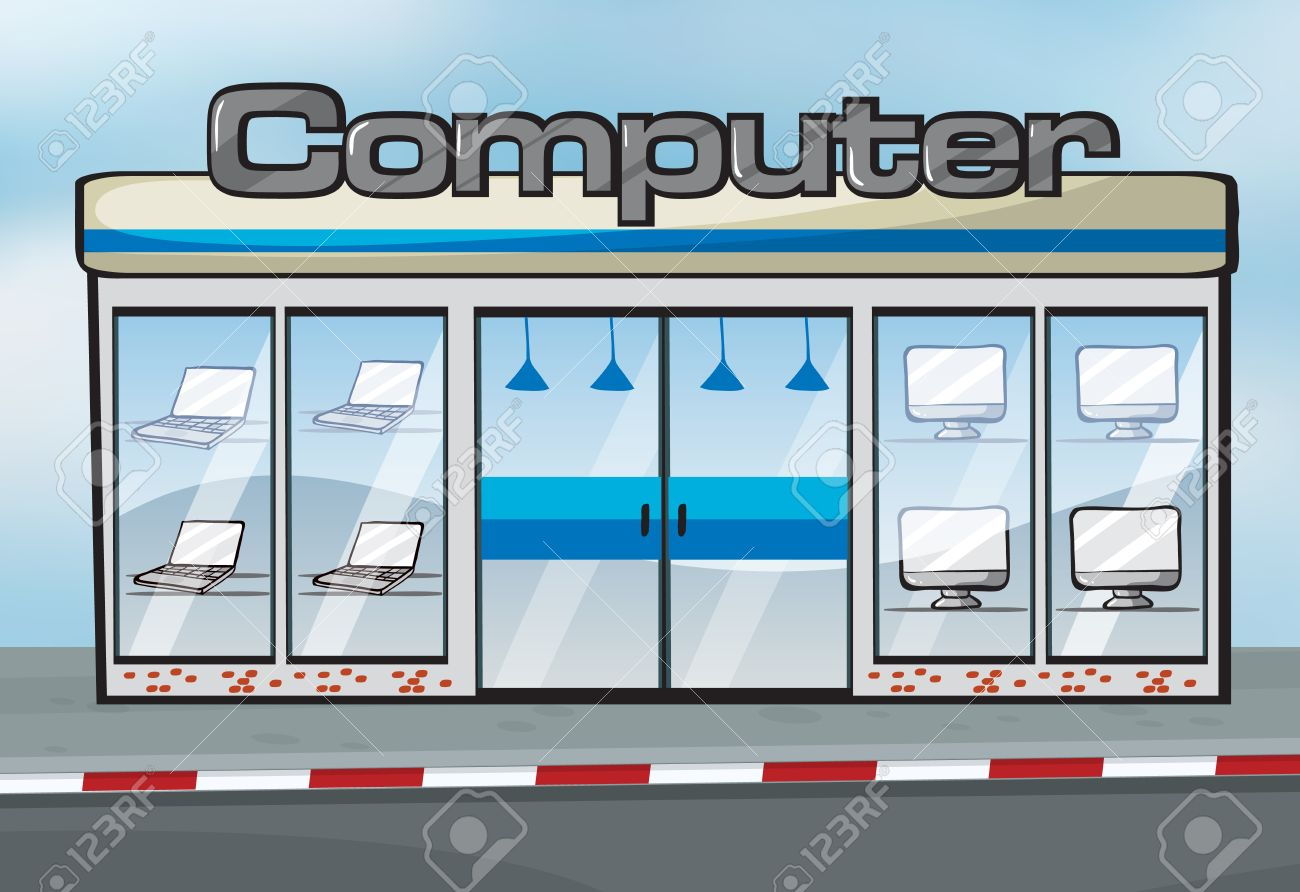 Illustration Of A Computer Shop Near The Street Royalty Free ...