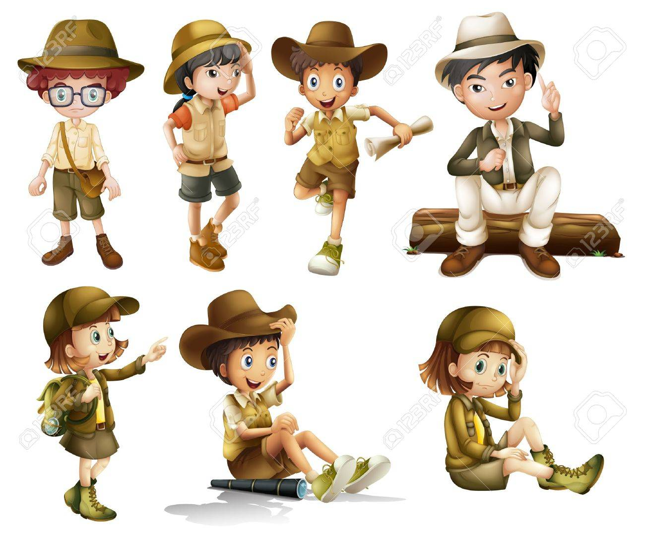 Illustration of boys and girls in safari costume on a white background - 16930144