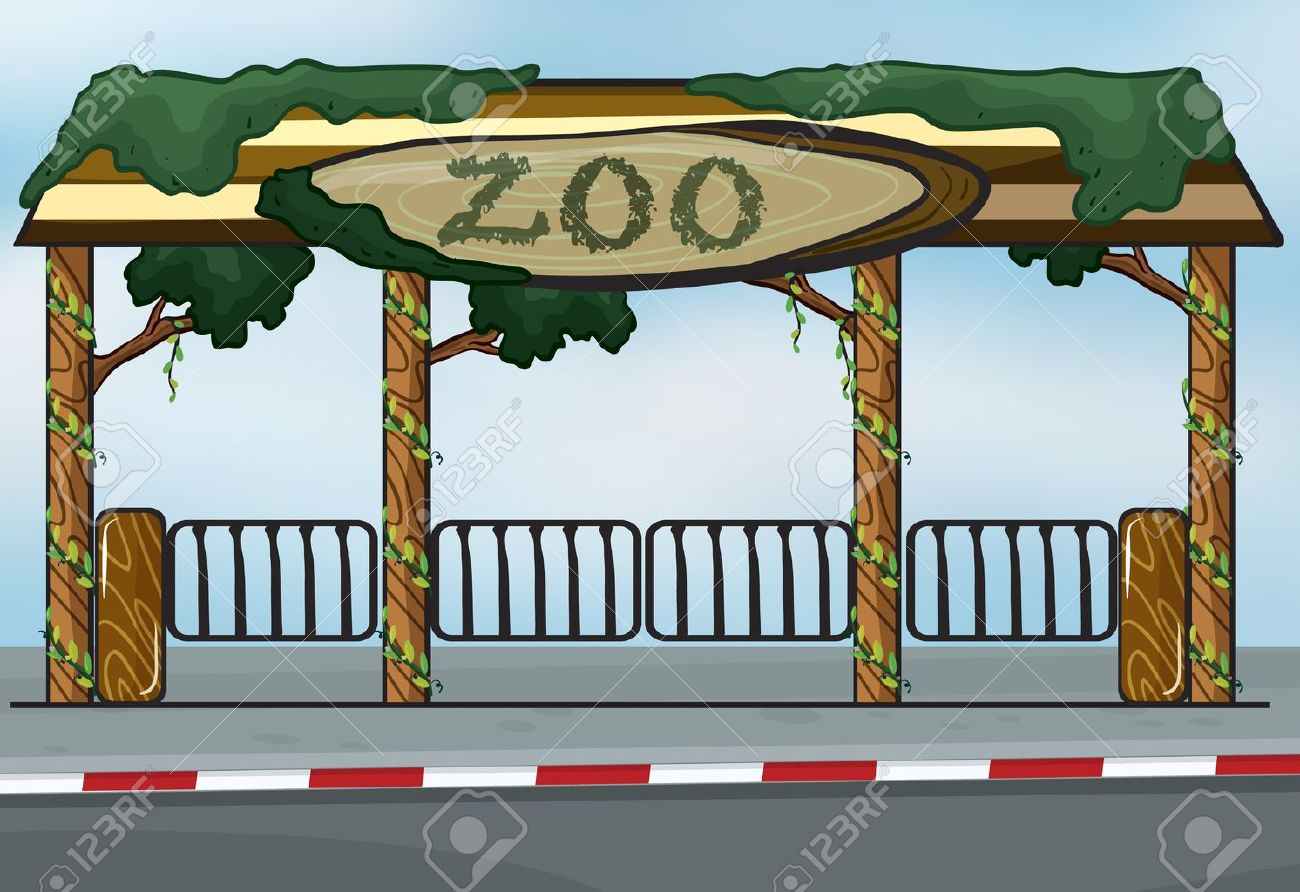 illustration of a zoo entrance near a street Stock Vector - 16930242