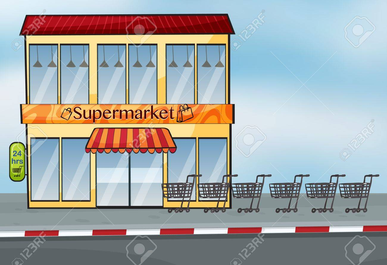 Illustration Of A Supermarket Near The Street Royalty Free ...
