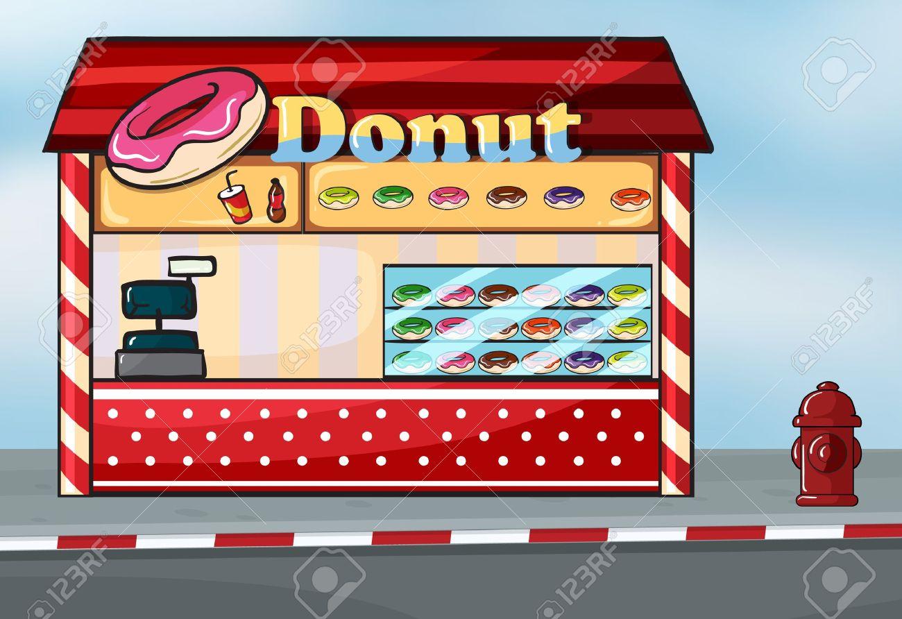 Illustration of a donut shop near the street Stock Vector - 16930187