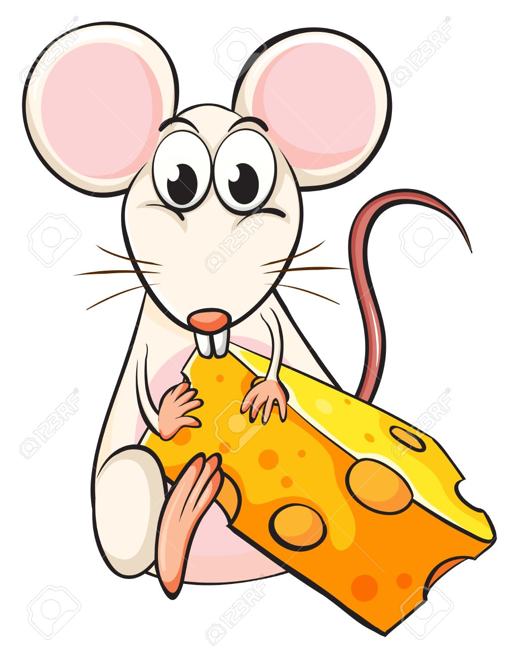 Illustration of a mouse and cheese on a white background Stock Vector - 16969728