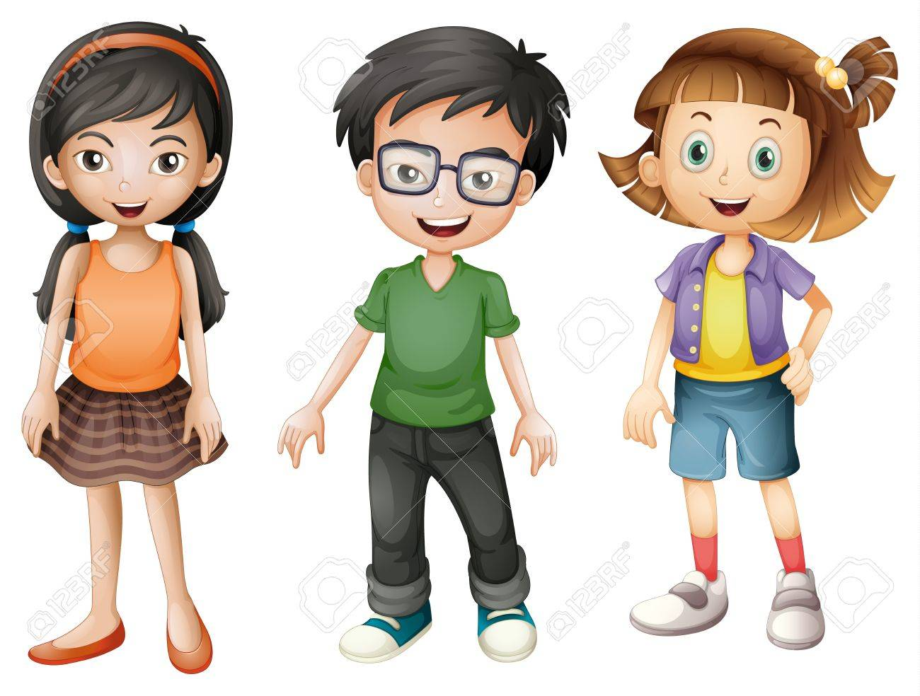 Illustration Of A Boy And Girls On A White Background Royalty Free ...