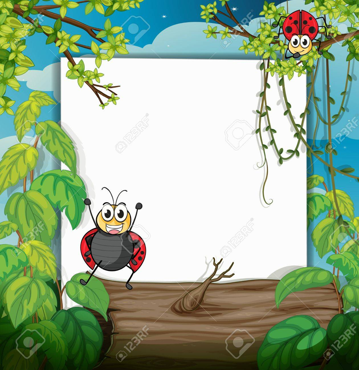 Illustration of a ladybug and a white board in a beautiful nature Stock Vector - 16969813