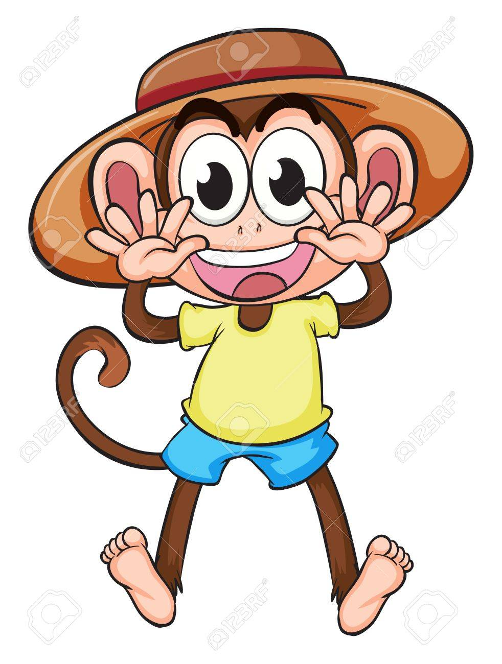 Illustration of a monkey wearing a hat on a white background Stock Vector - 16969742