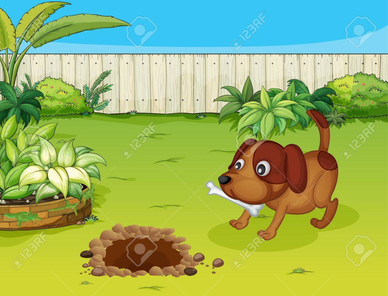 Illustration of a dog with a bone in the garden Stock Vector - 17024805