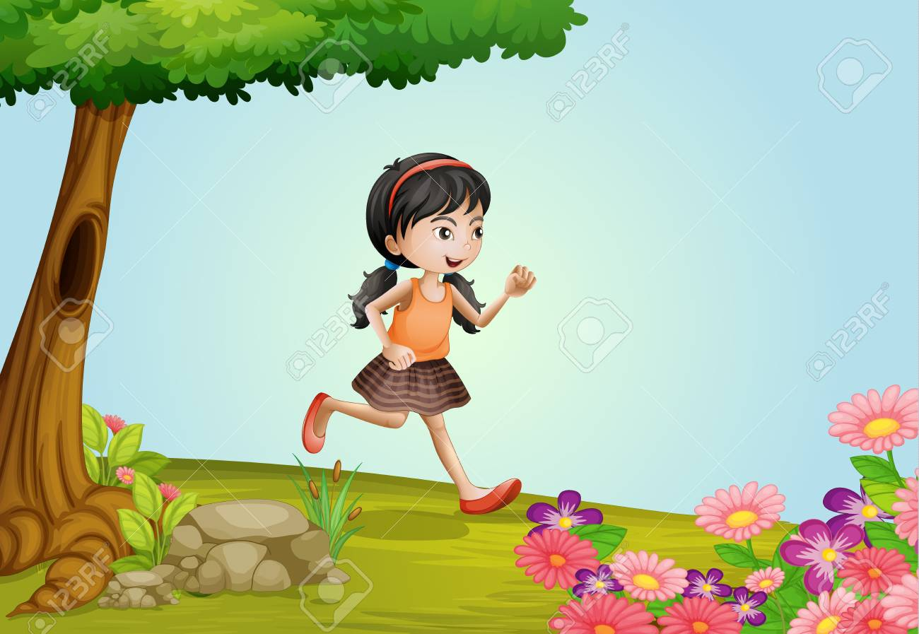 Illustration of a girl running in a beautiful nature Stock Vector - 17024789
