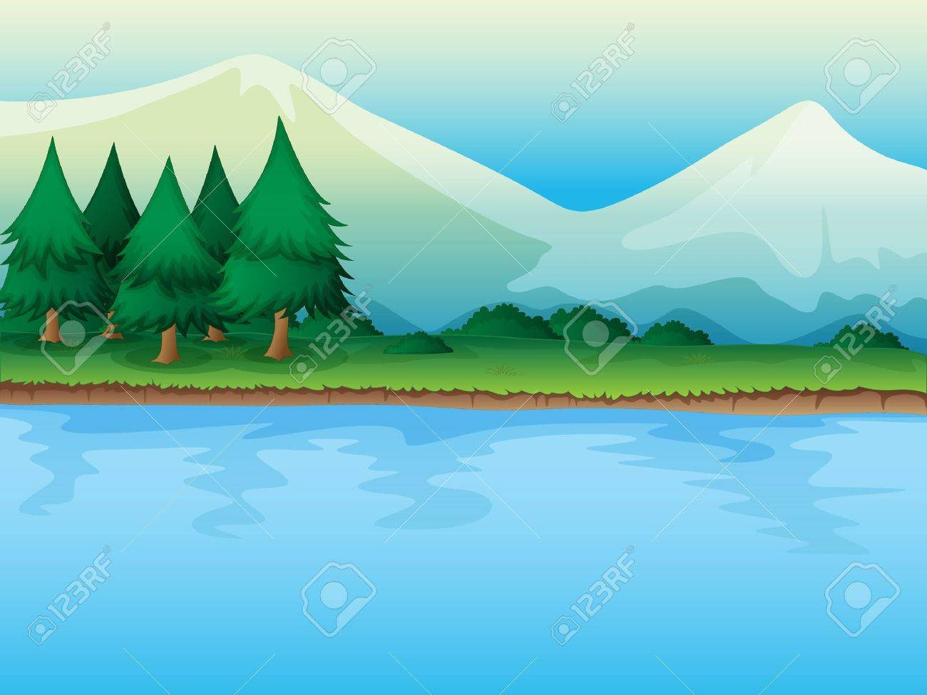 Illustration of a river in a beautiful nature Stock Vector - 17024732