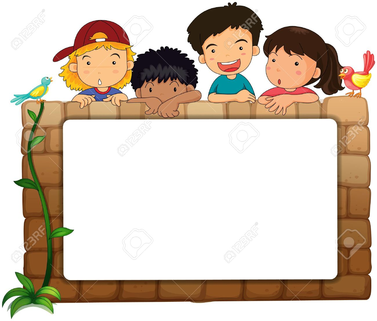 illustration of a white board kids and birds on a white