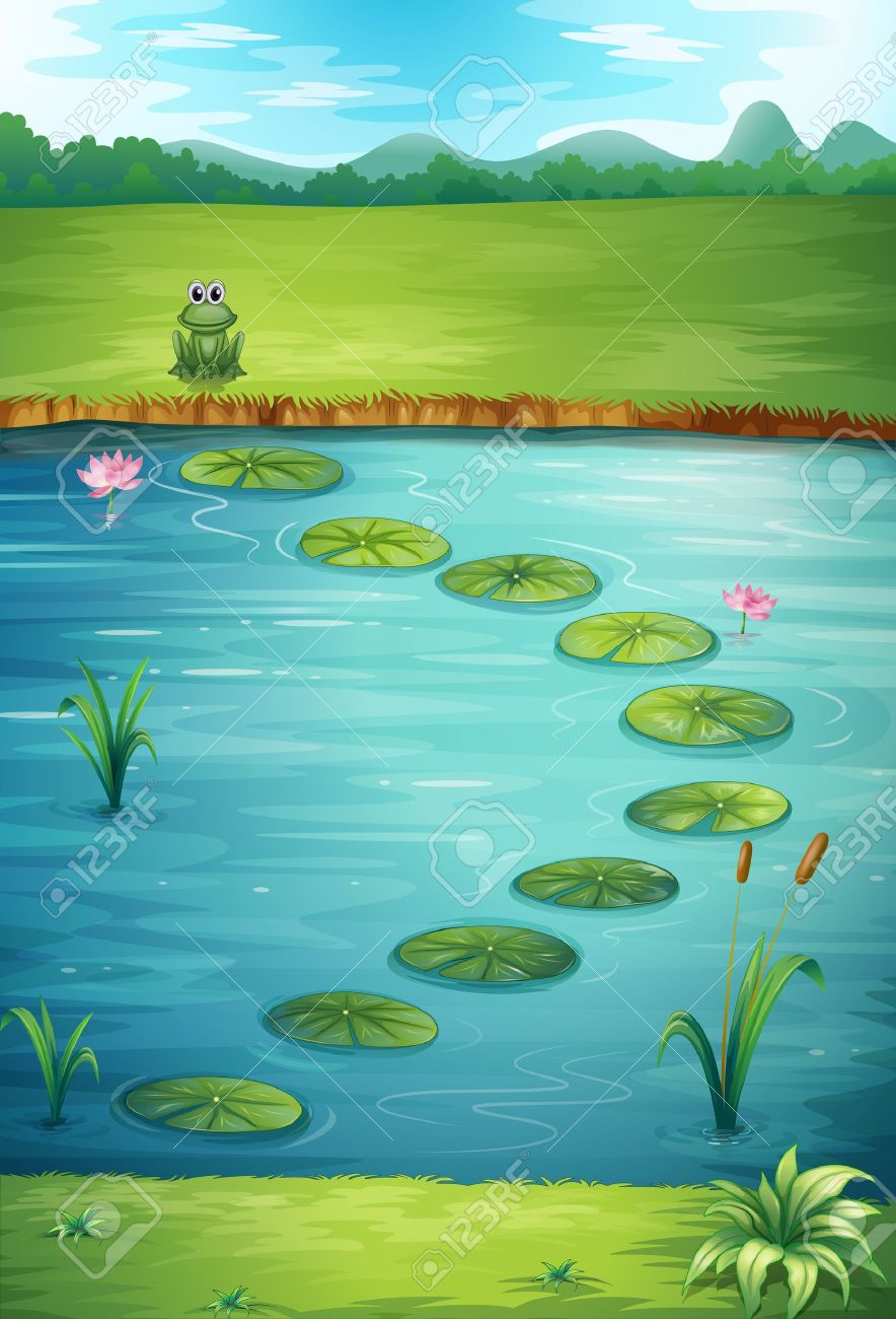 Illustration of a frog and a lake in a beautiful nature Stock Vector - 17024820