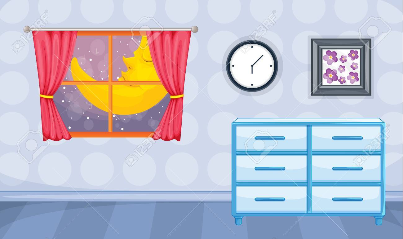 Illustration of room interior with open window in night Stock Vector - 17024681