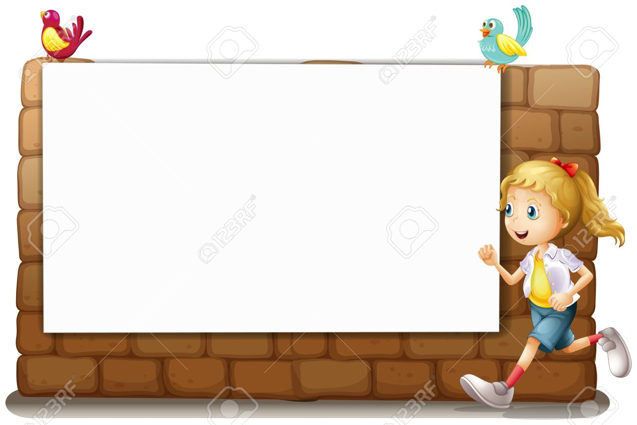 Illustration of a white board, a girl and birds on a white background Stock Vector - 17024763