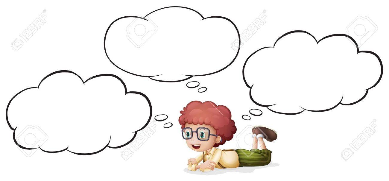 Illustration of a girl thinking and lying on white background Stock Vector - 17024755
