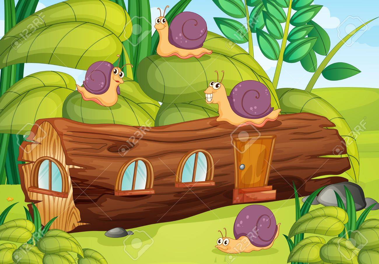 Illustration of snails and wood house in green nature Stock Vector - 17029401