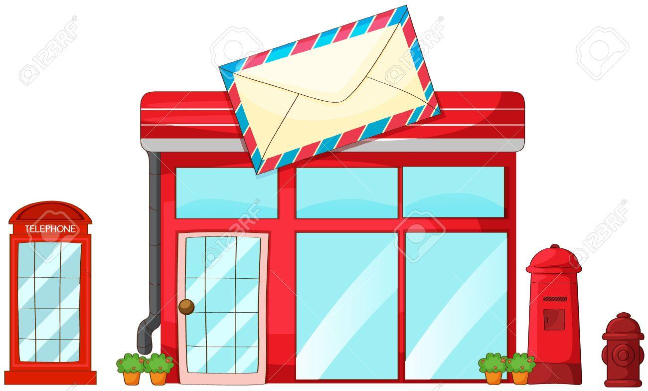Illustration De Un Bureau De Poste Boîte Aux Lettres Téléphone Sur