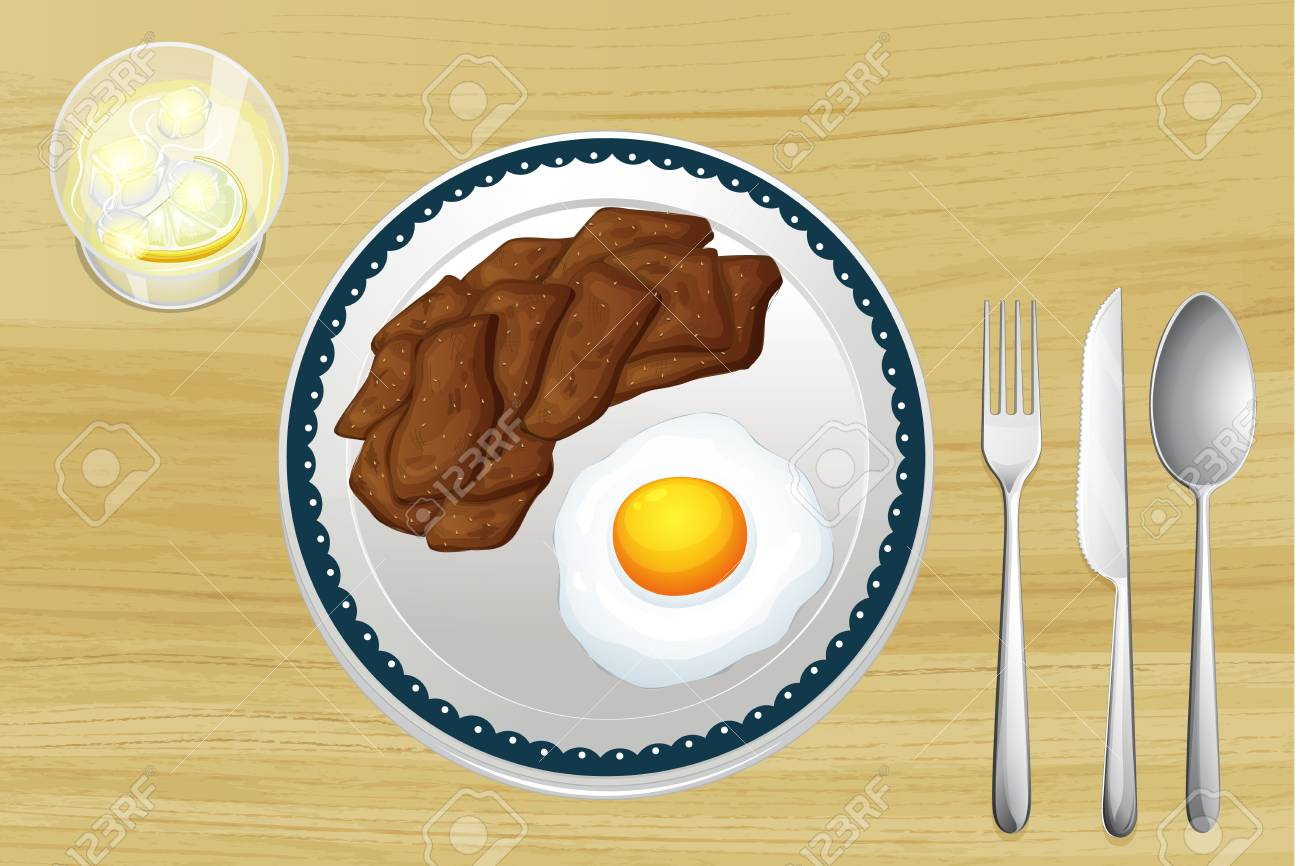 illustration of a meat and omelet in a dish on a wooden background Stock Vector - 17031265