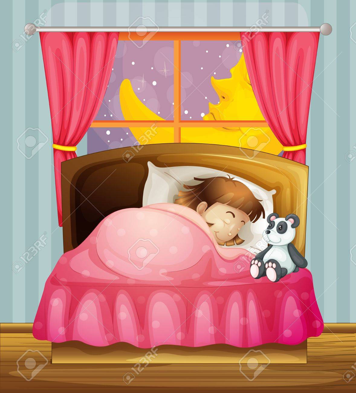 Illustration of a sleeping girl in a room Stock Vector - 17031273