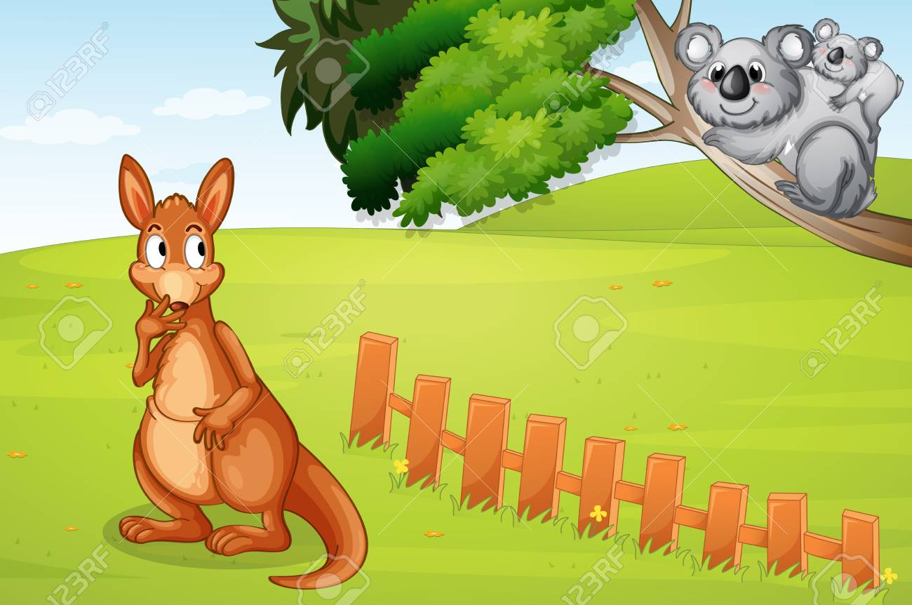 Illustration of a kangaroo and bears in a beautiful nature Stock Vector - 17031251