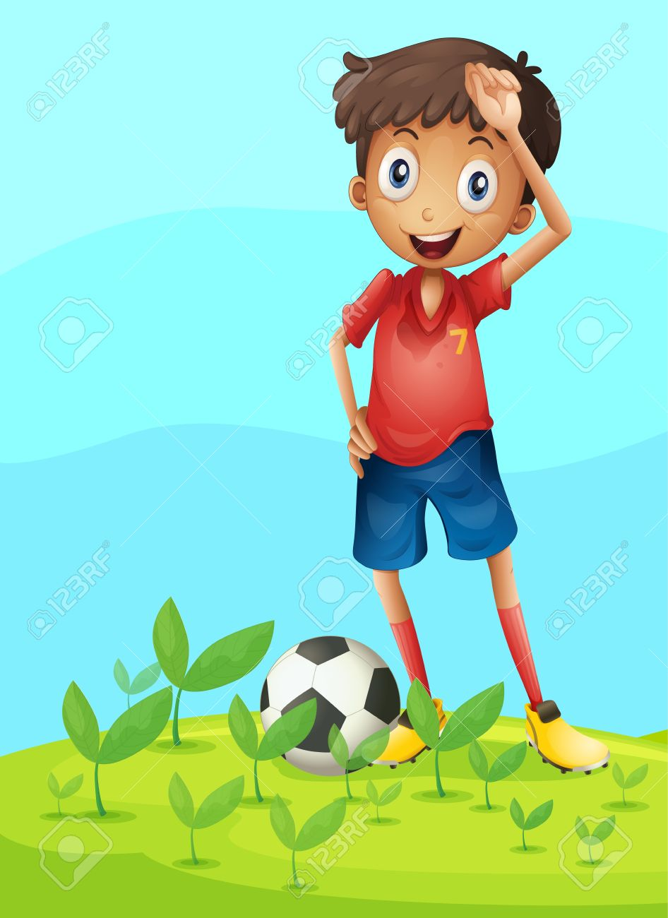 Illustration of a boy playing football in a beautiful nature Stock Vector - 17031302