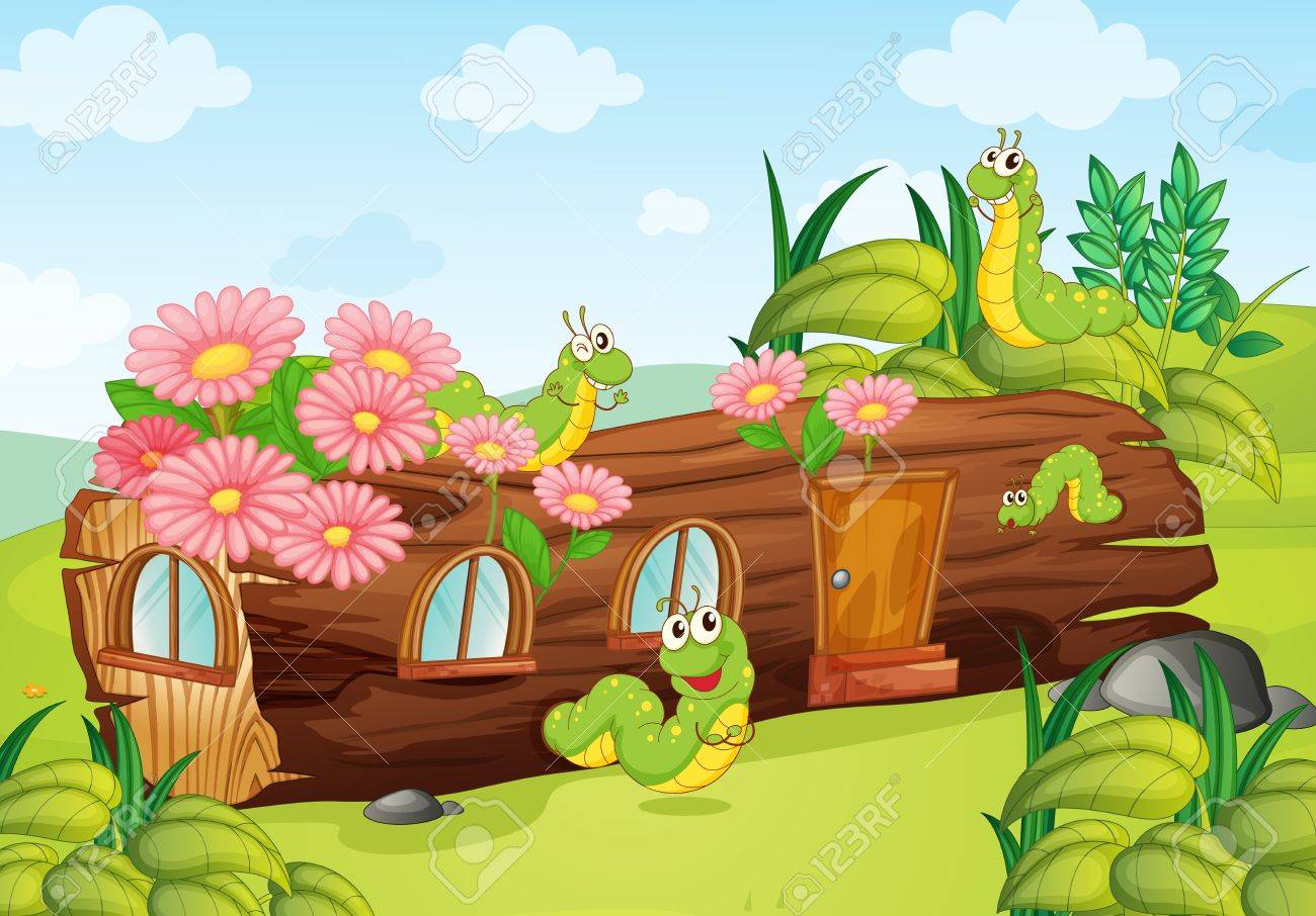 Illustration of a caterpillar and a wood house in a beautiful nature Stock Vector - 17031368