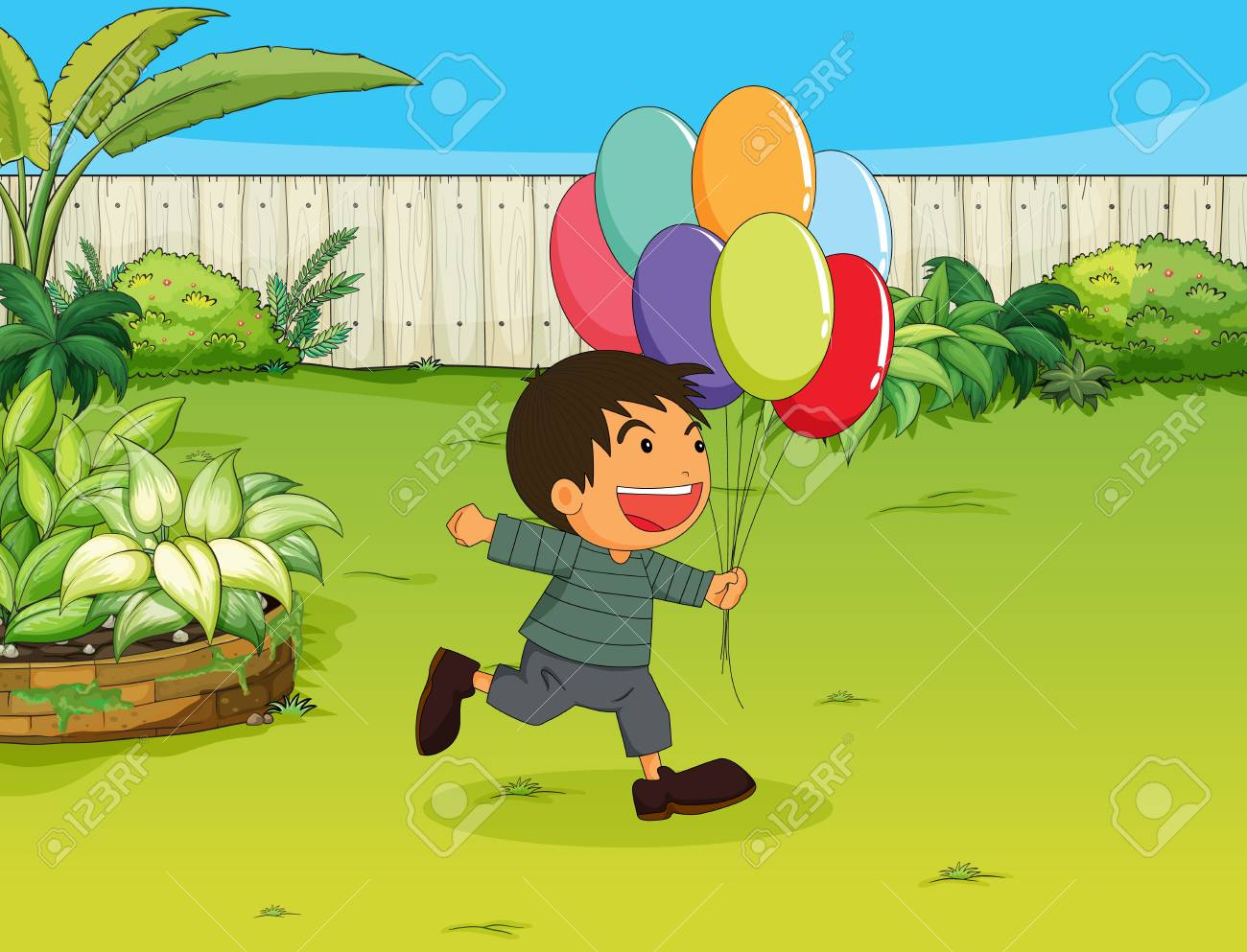 Illustration of a smiling boy with balloons in a garden Stock Vector - 17031281