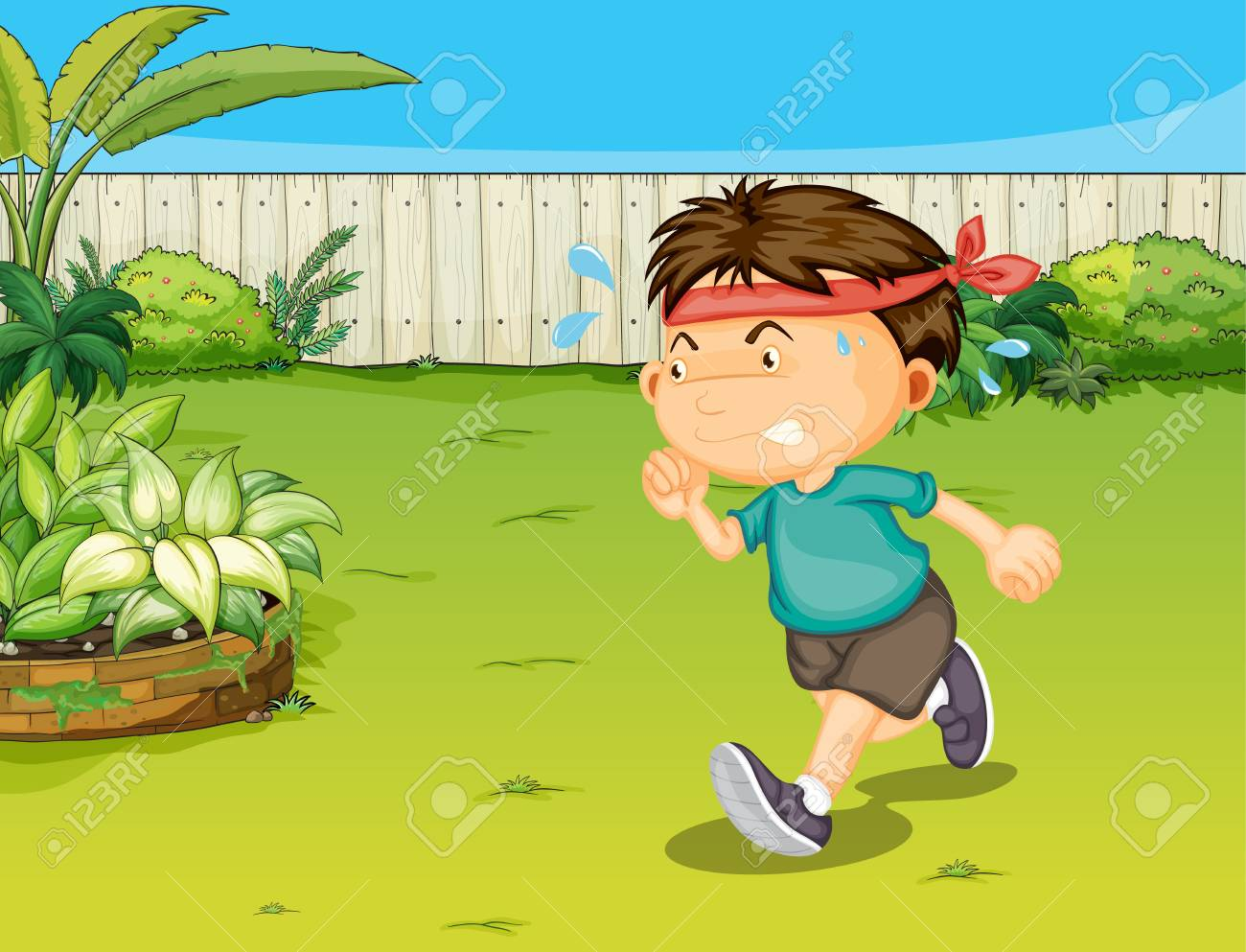 Illustration of a boy in a beautiful nature Stock Vector - 17031278