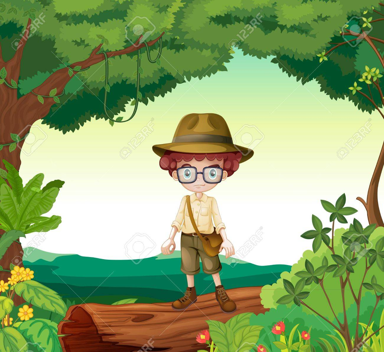Illustration of a boy standing on a timber beam in a beautiful nature Stock Vector - 17036918