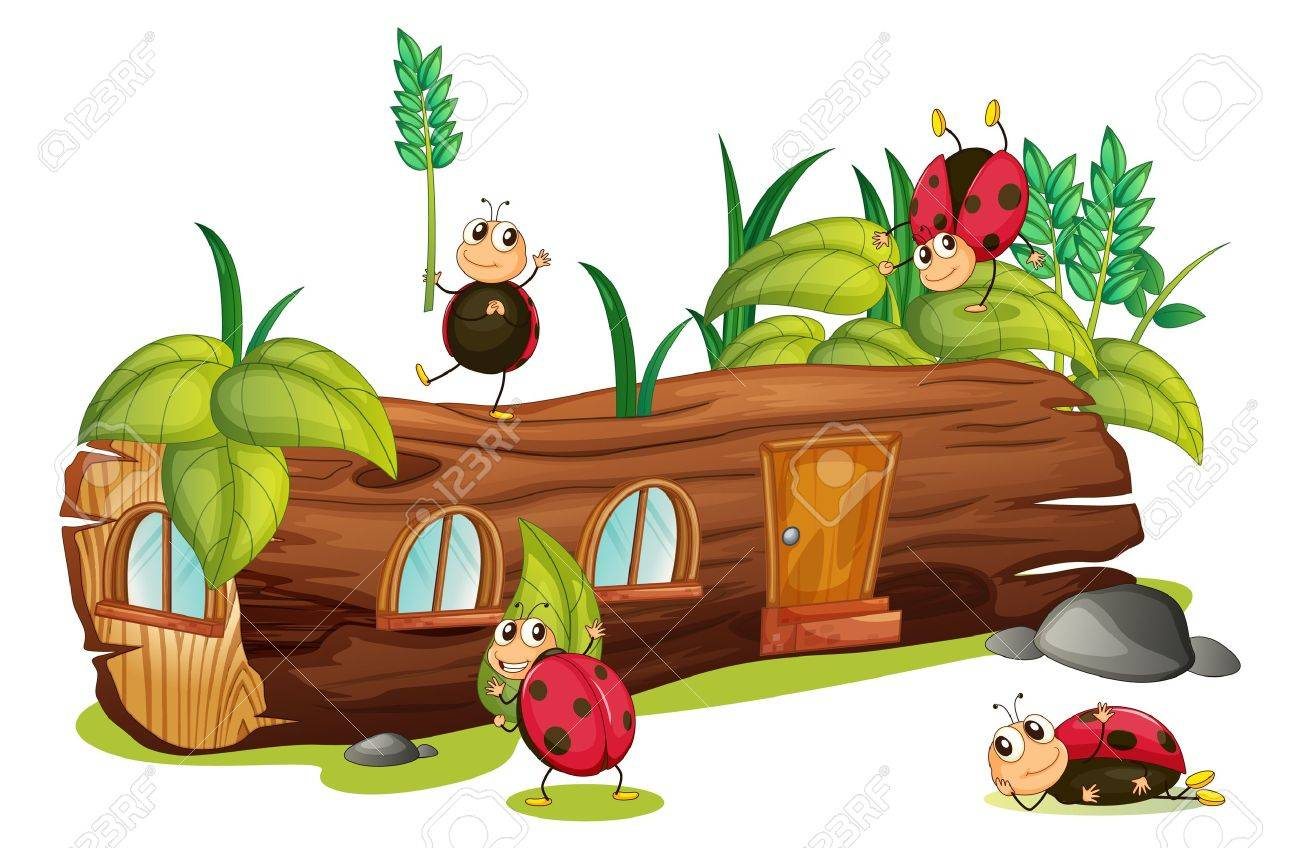 Illustration of ladybugs and a wood house on a white background Stock Vector - 17046744
