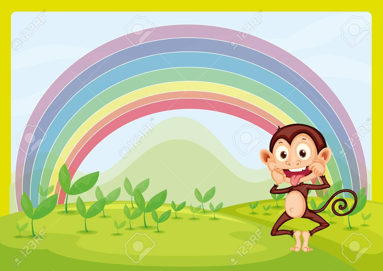 Illustration of monkey and rainbow in green nature Stock Vector - 17082661