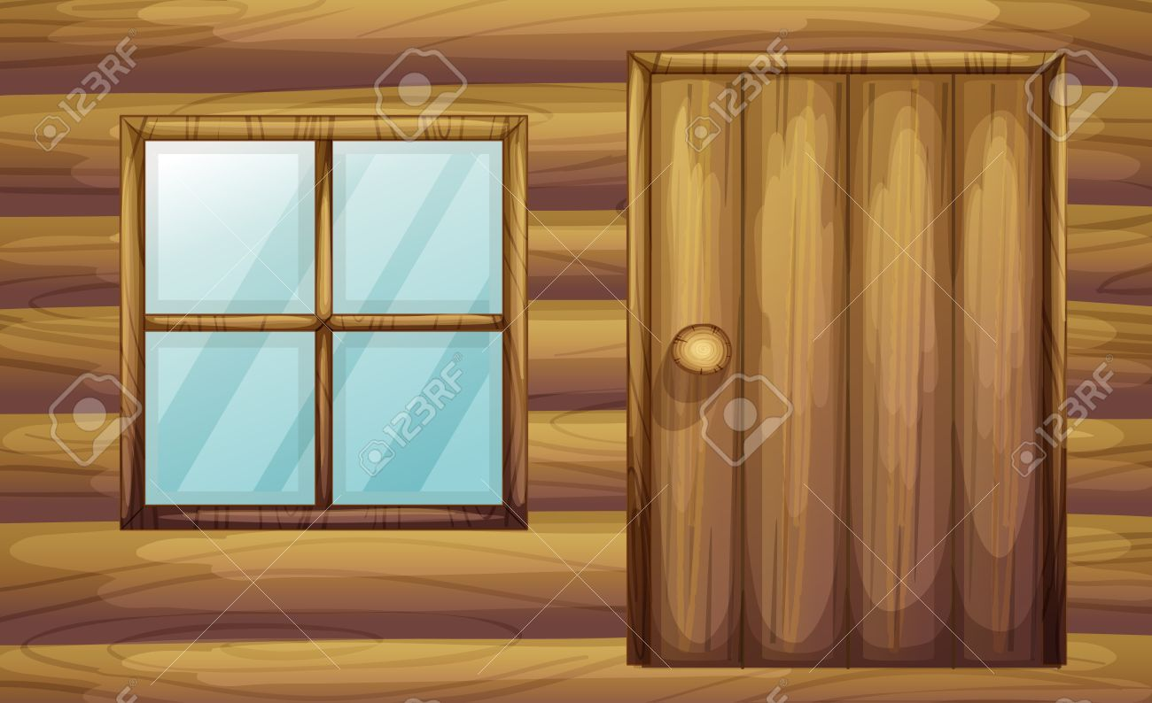 Double door clipart - Double Cabin Illustration Of Window And Door Of A Wooden Room Illustration