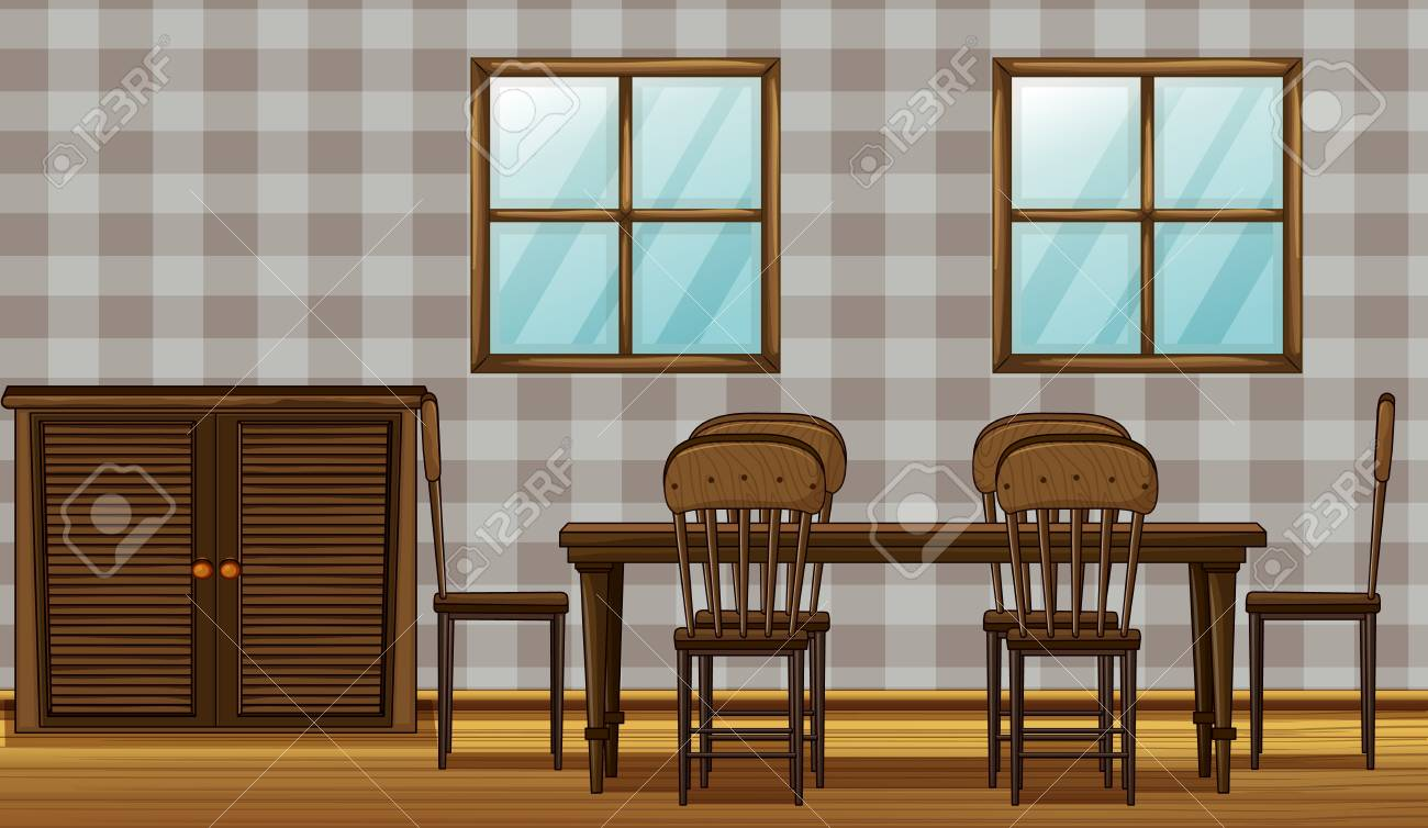 Illustration of a dinning table and wardrobe in a room Stock Vector - 17082625