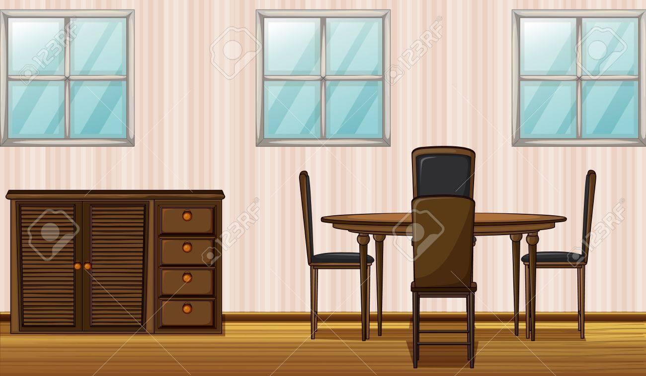 Ilustración De Un Mobiliario De Madera Y Ventana En Una Habitación ...