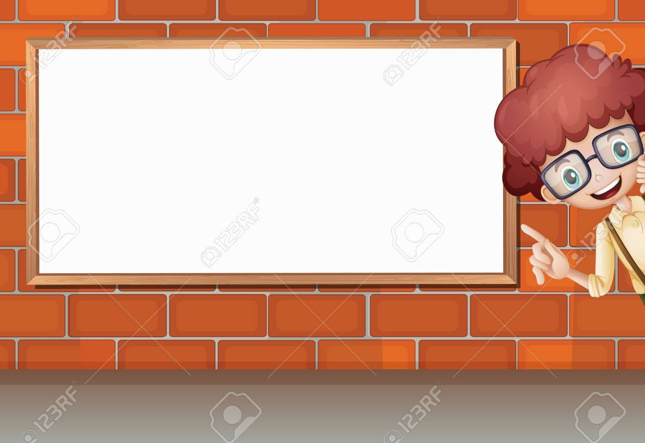 Illustration of a boy showing white board on brick wall Stock Vector - 17082643