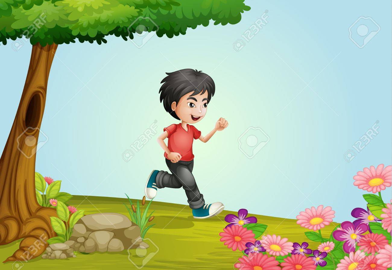 Illustration of a boy running in a beautiful nature Stock Vector - 17082700